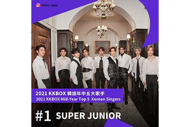 슈퍼주니어, 대만 최대 음악 사이트 'KKBOX'서 '2021 상반기 한국 가수' 1위 선정!